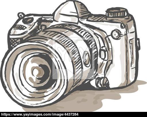 512x410 Drawing Of A Digital Slr Camera Image