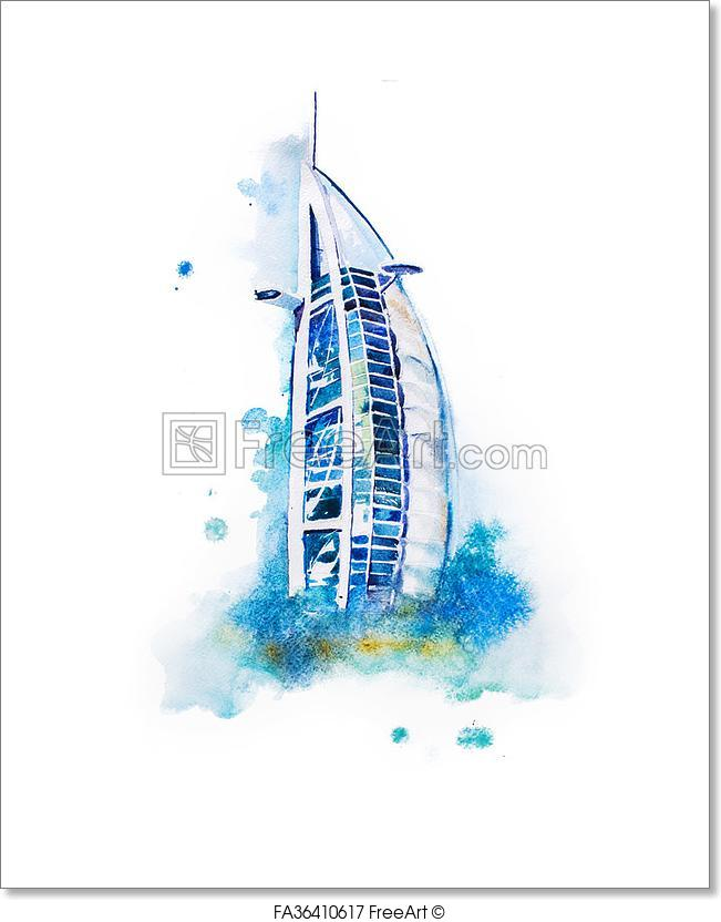 651x832 free art print of watercolor drawing of dubai hotel burj al arab