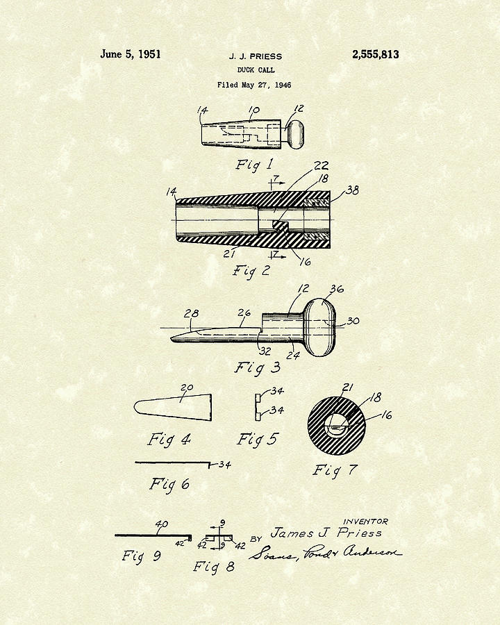 720x900 Duck Call 1951 Patent Art Drawing By Prior Art Design