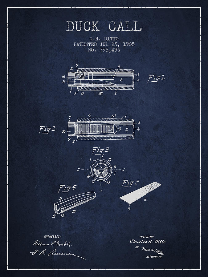 675x900 Duck Call Instrument Patent From 1905