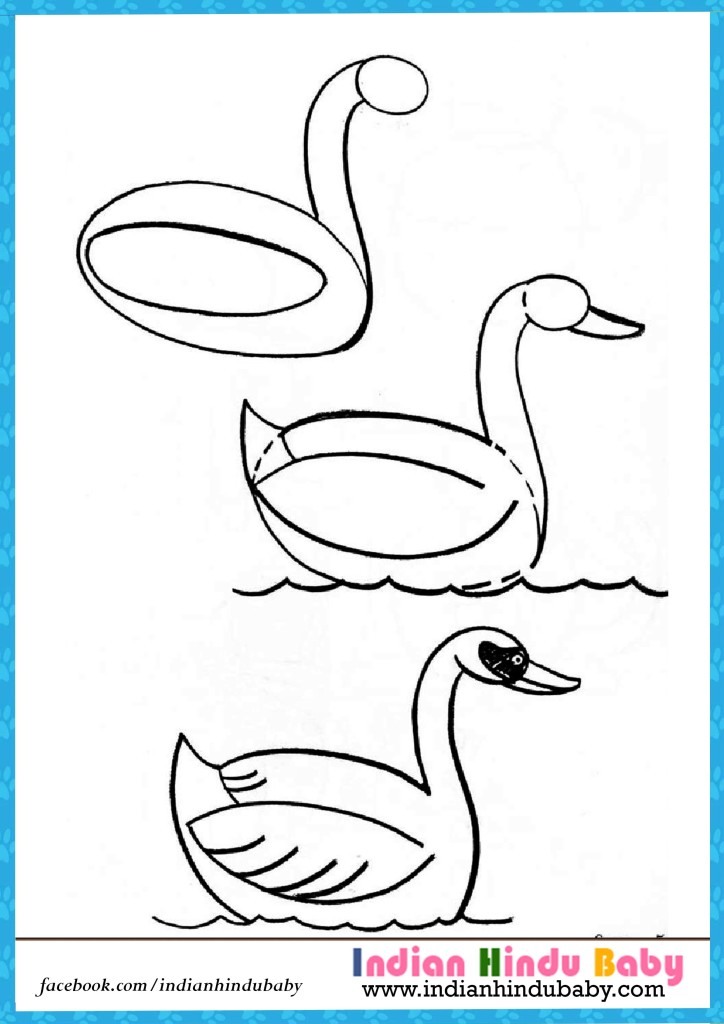 724x1024 Duck Swimming Step By Step Drawing For Kids Indian Hindu Baby