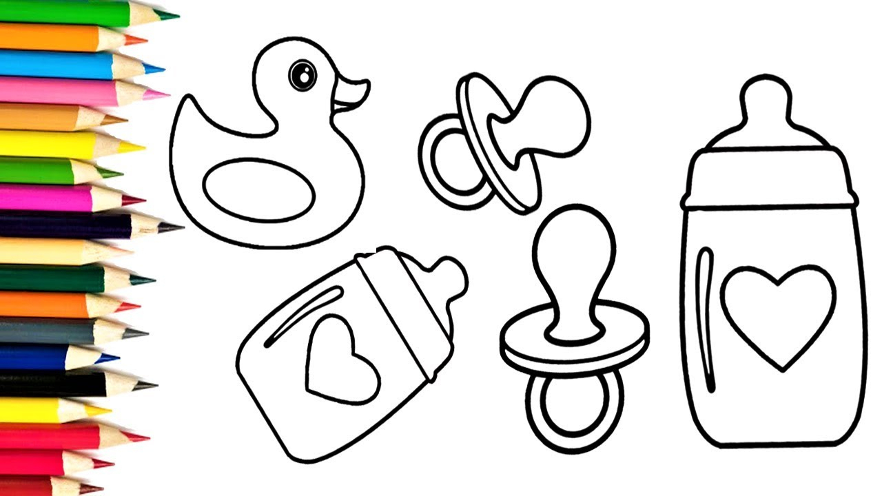 1280x720 Baby Bottle Drawing How To Draw Baby Bottle, Baby Nipple And Duck