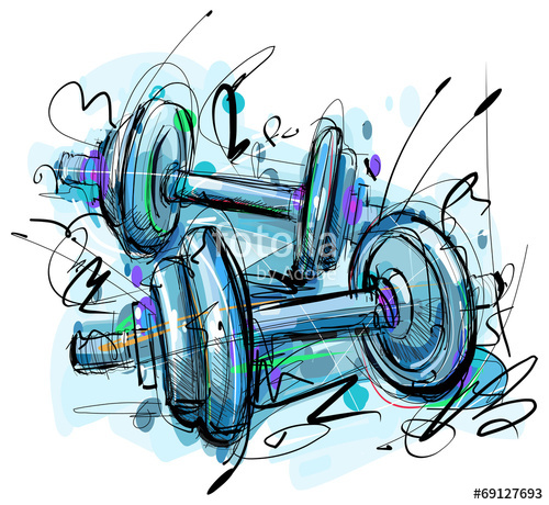 500x460 Dumbbell Drawing Stock Image And Royalty Free Vector Files