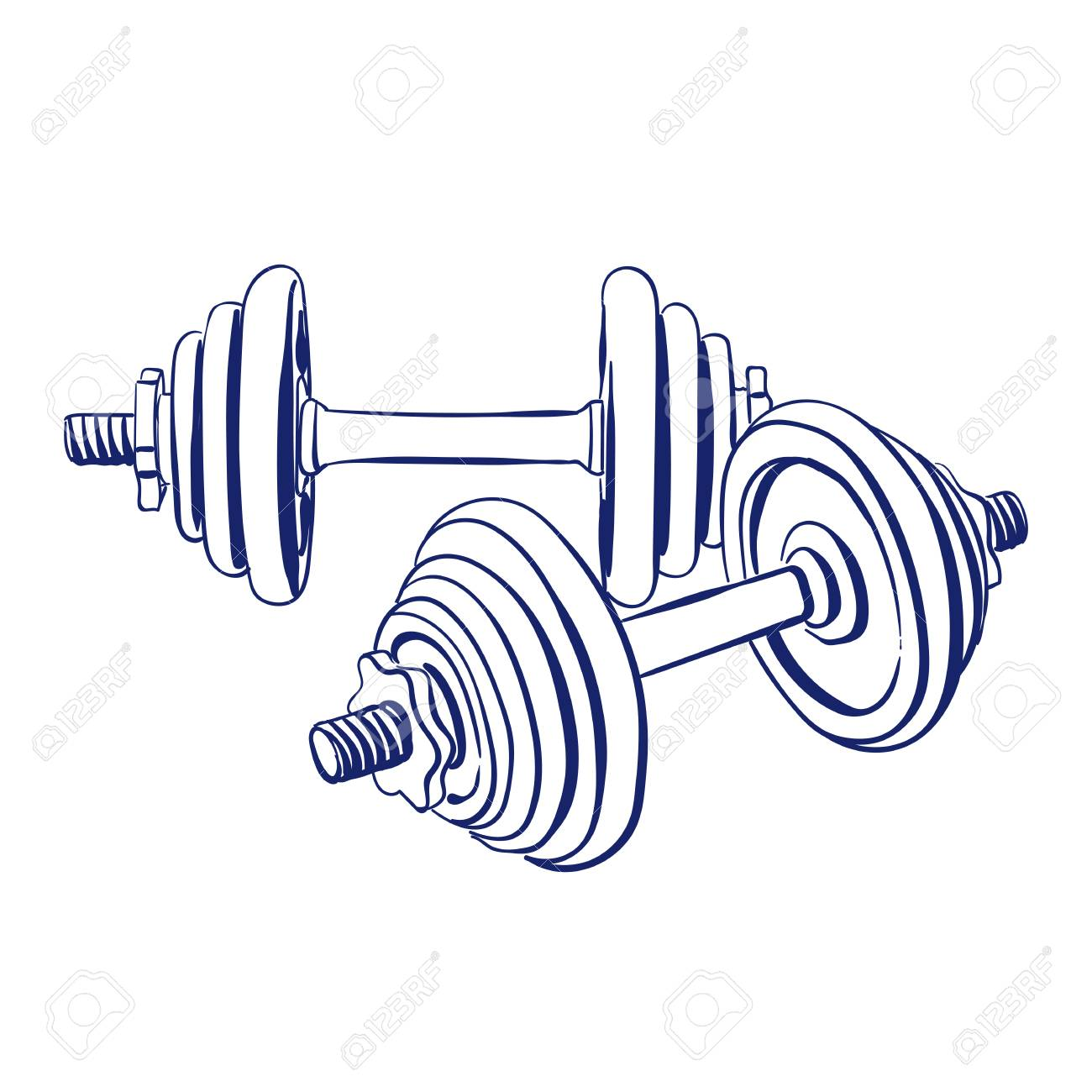 1300x1300 Dumbbells Doodle Drawing Royalty Free Cliparts, Vectors, And Stock
