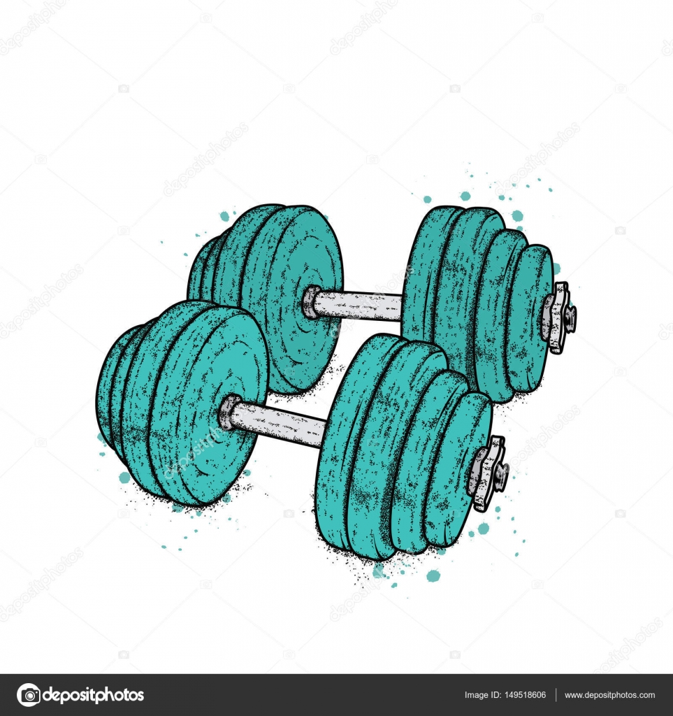963x1024 Dumbbells Drawn In Vector. Illustration For A Postcard Or A Poster