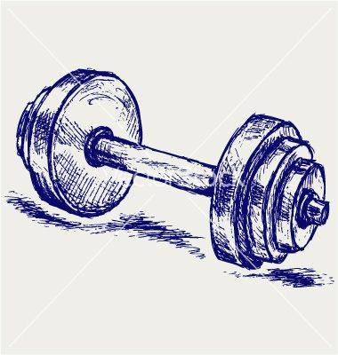 380x400 Sketch Dumbbell Weight Vector Graphic Design