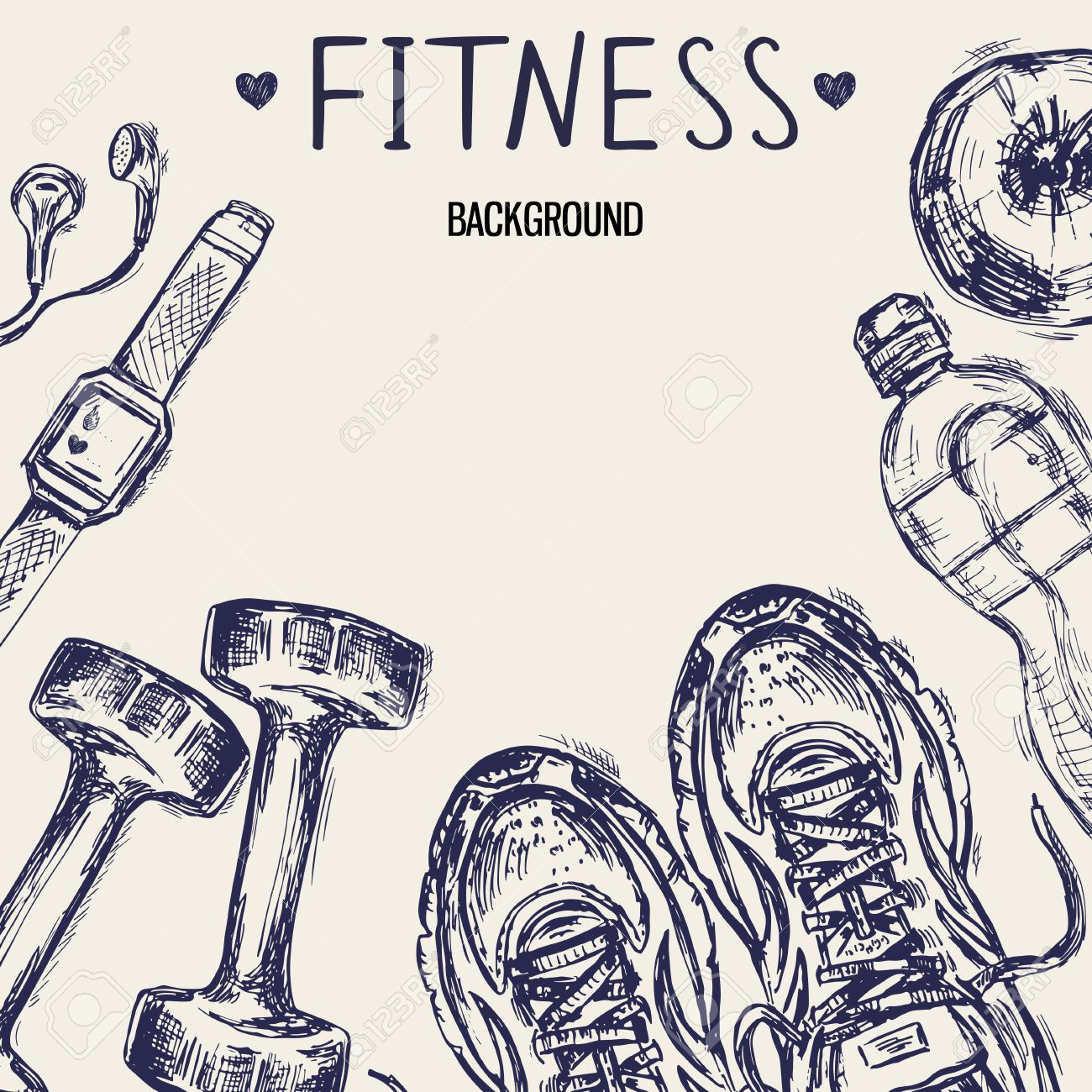 1300x1300 Healthy Lifestyle Concept. Template With Hand Drawn Sneakers