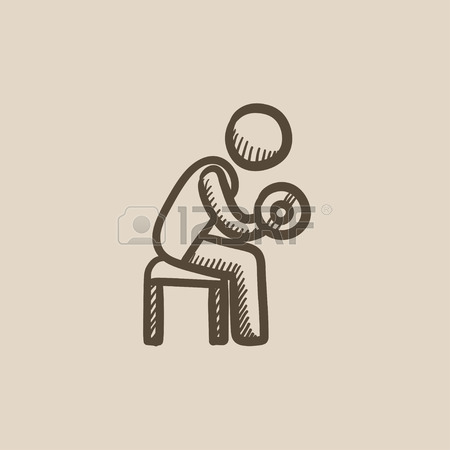 450x450 Man Exercising With Dumbbells Vector Sketch Icon Isolated