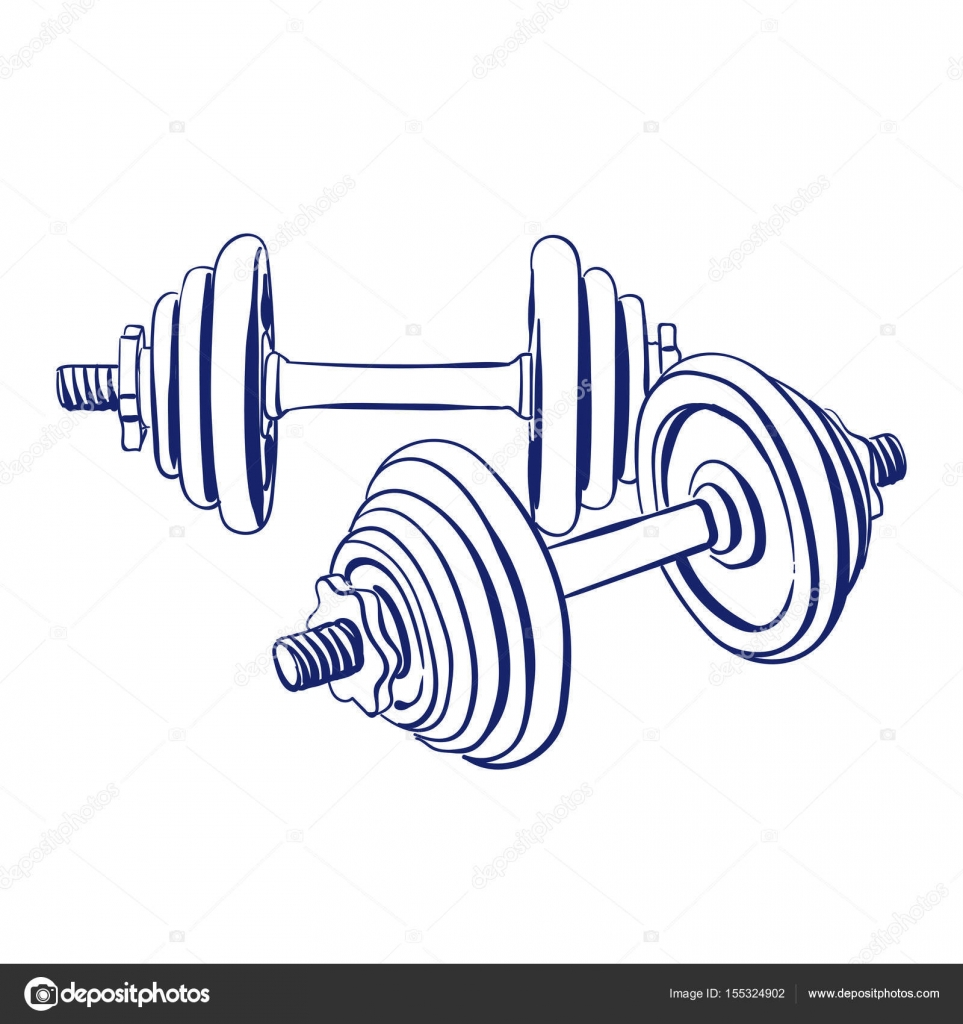 963x1024 Dumbbells Doodle Drawing Stock Vector