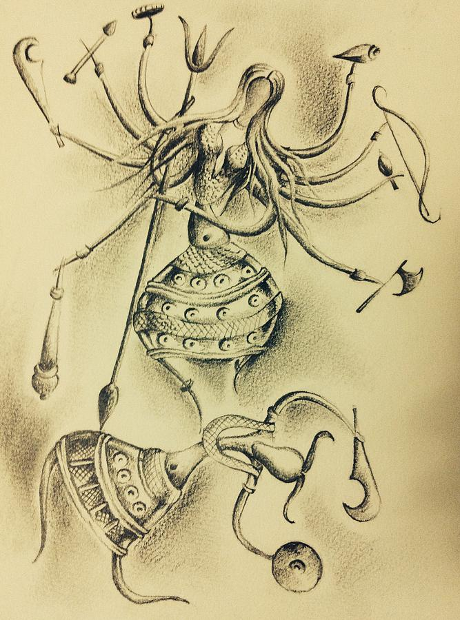 667x900 the goddess durga drawing by somnath kundu