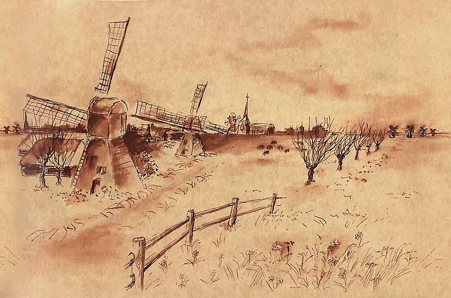 900x596 Dutch Windmills Drawing By Ernestine Grindal