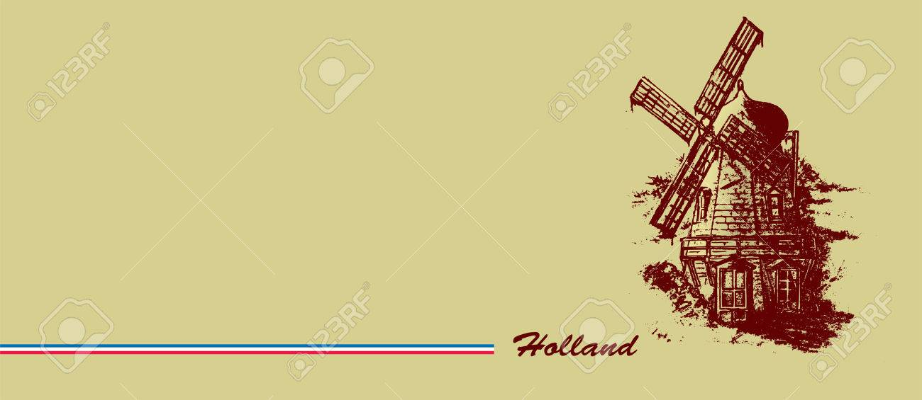 1300x565 Old Dutch Windmill. Pencil Drawing Banner Design Royalty Free