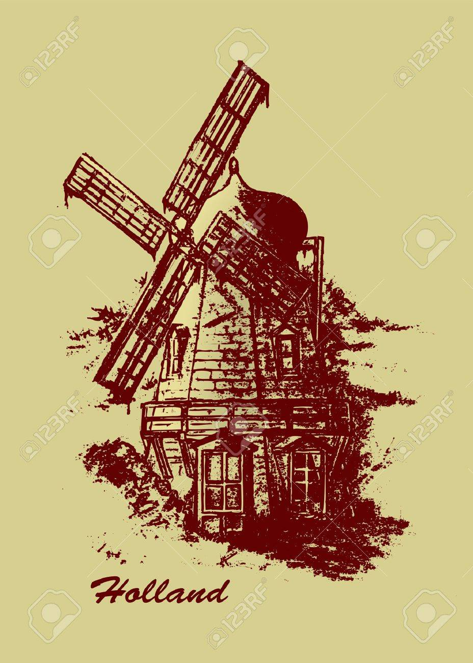 928x1300 Old Dutch Windmill. Pencil Drawing Vector Illustration Royalty