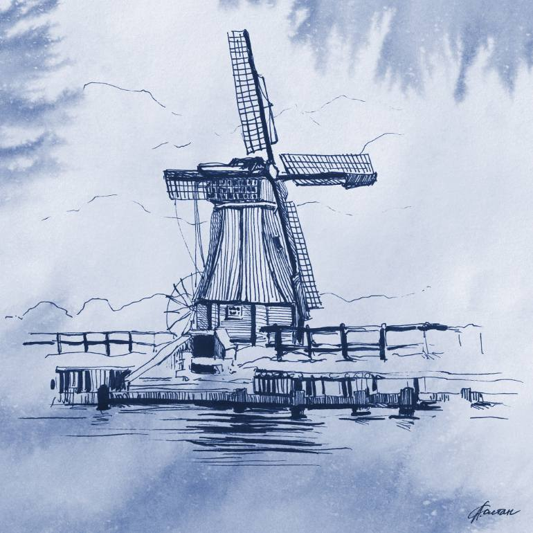 770x770 Saatchi Art Dutch Windmill Drawing By Liubou Soltan