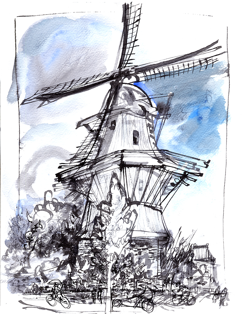 850x1102 Dutch Windmill Pen Amp Ink
