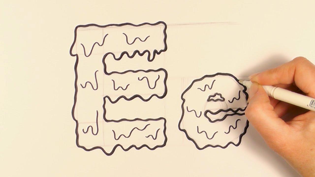 1280x720 How To Draw A Cartoon Halloween Slime Letter E And E