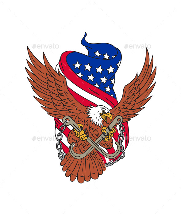 590x700 American Eagle Usa Flag Drawing By Patrimonio Graphicriver