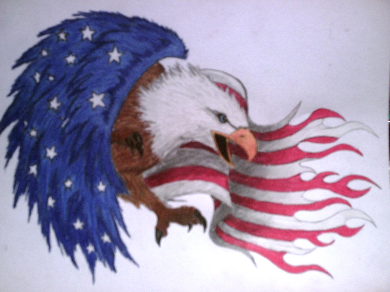1600x1200 Eagle Flag Tattoo Design By Shayladawn