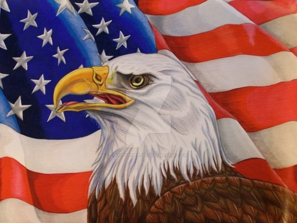 1024x768 Eagle And American Flag By Peacekeeperj3low