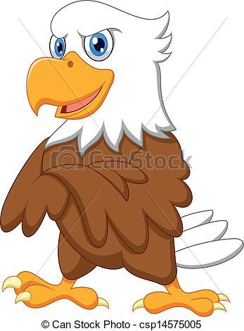 347x470 Vector Illustration Of Cute Eagle Cartoon Posing Vector Clipart