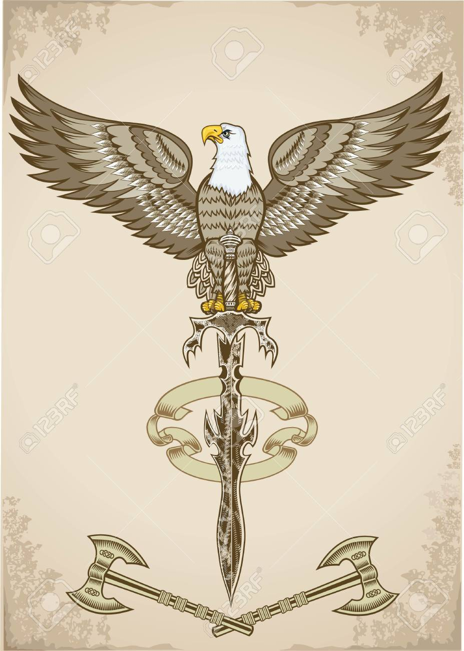 927x1300 American Eagle With Sword Illustration. Royalty Free Cliparts