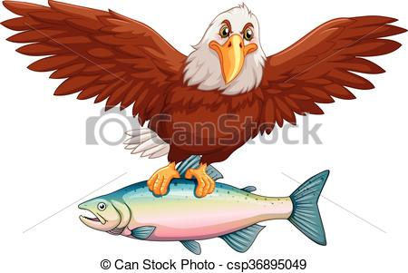 450x301 Eagle Flying With Fish In Claws Illustration Eps Vector