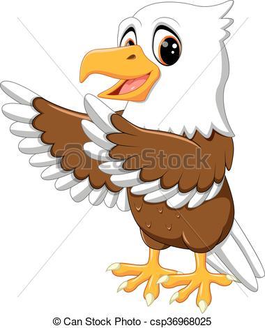 380x470 Illustration Of Cute Eagle Cartoon Vector Illustration