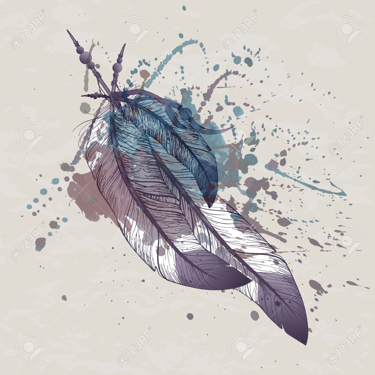 1300x1300 Vector Illustration Of Eagle Feathers With Watercolor Splash