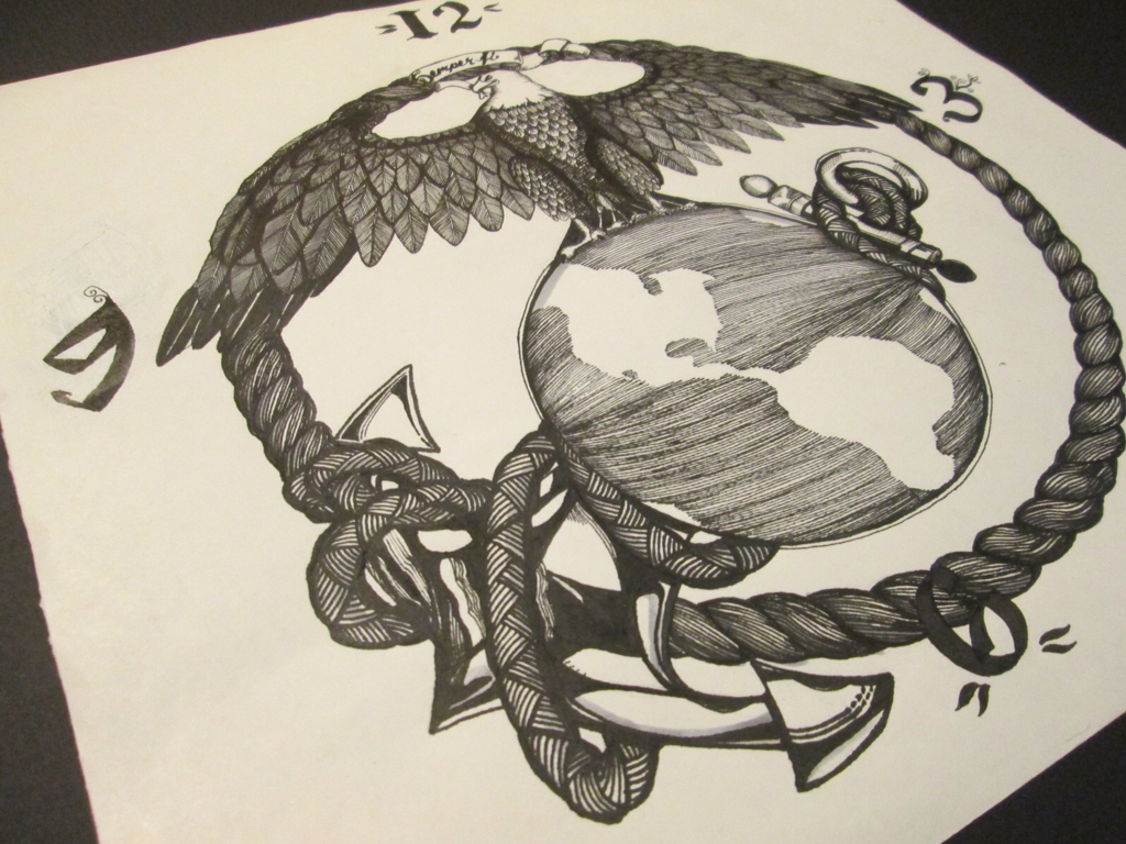 1024x768 Eagle Globe And Anchor Ink Drawing By Frall Sold On Etsy Frall