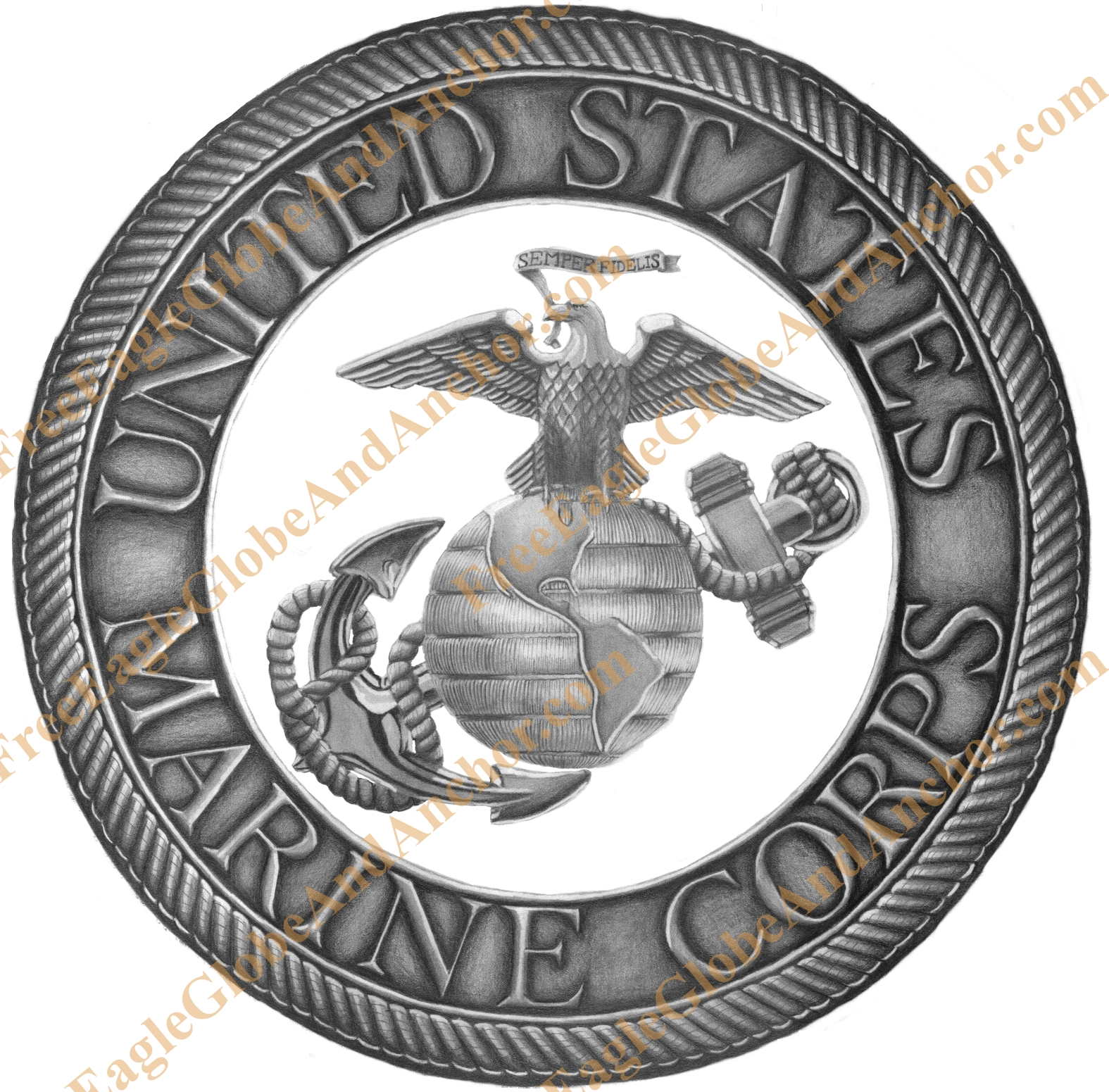 1575x1551 Usmc Eagle, Globe, And Anchor Graphite Drawing Turned Into A Print