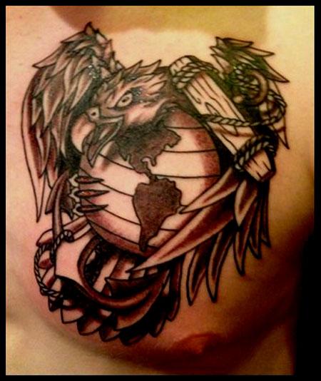 450x534 Eagle Globe And Anchor Tattoo Cloud Tattoos Anchor