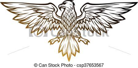 450x223 Eagle Mascot Spread Wings. Vector Illustration. Line Art Clip
