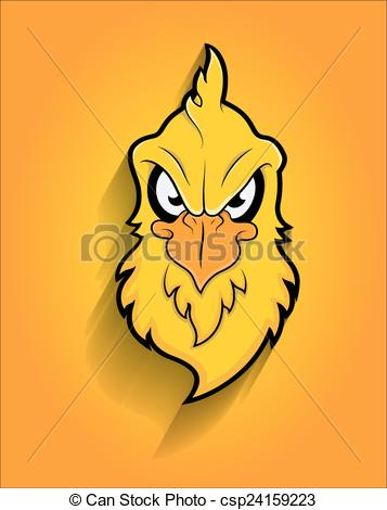 357x470 Retro Eagle Bird Face Mascot. Cartoon Angry Mascot Yellow