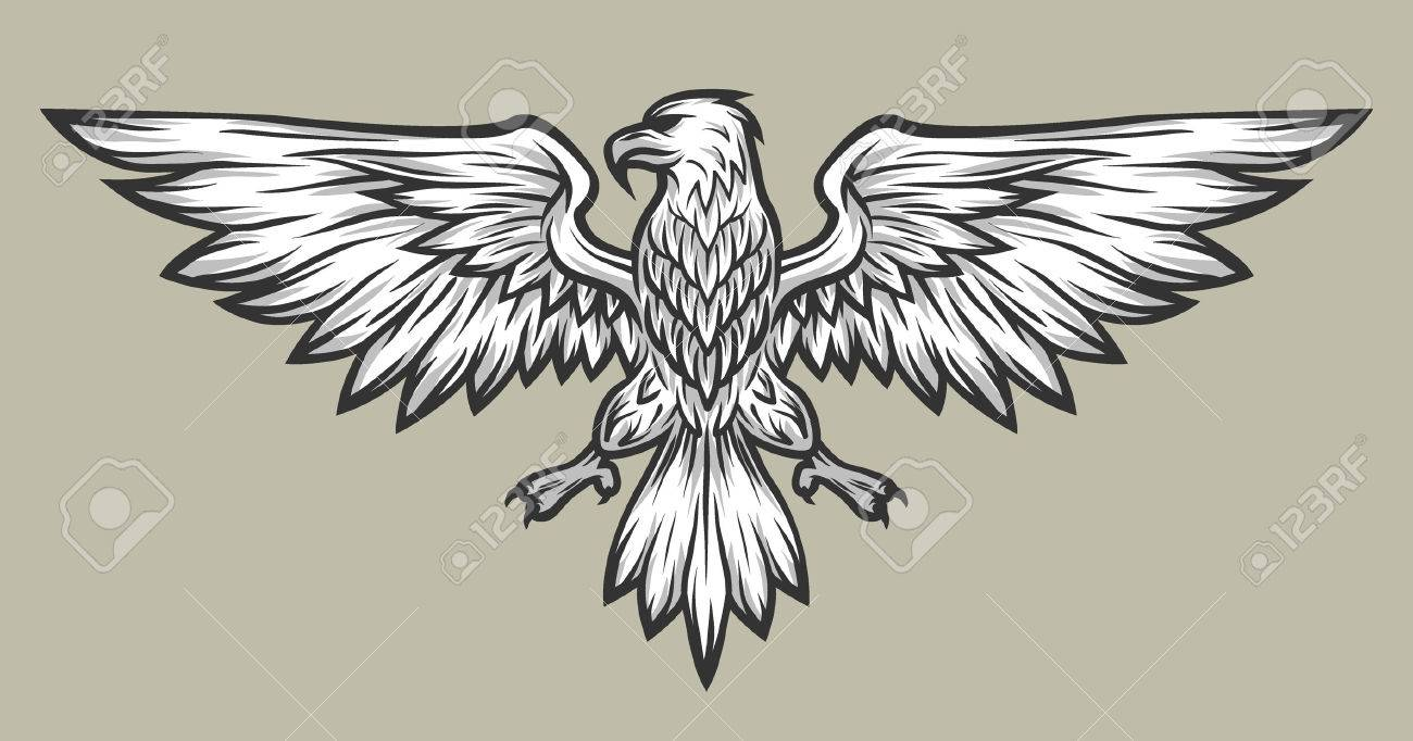 1300x682 Eagle Mascot Spread Wings. Symbol Mascot Vector Illustration