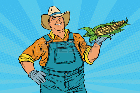 450x300 Ear Of Corn, Harvest, Agriculture, Pop Art Retro Vector