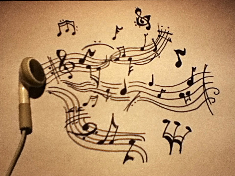 960x720 Drawed Music Notes, Some Earphone, By Nina Peters