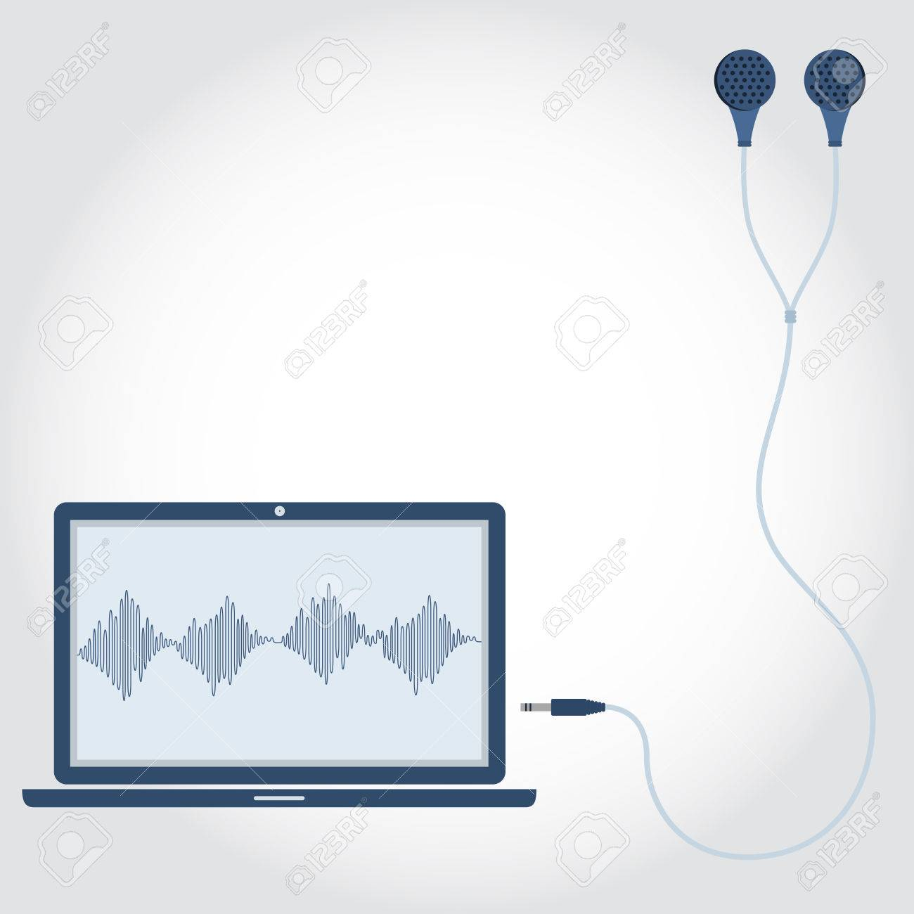 1300x1300 Laptop And Cable With Earphone Unplugged. Sound Wave Symbol