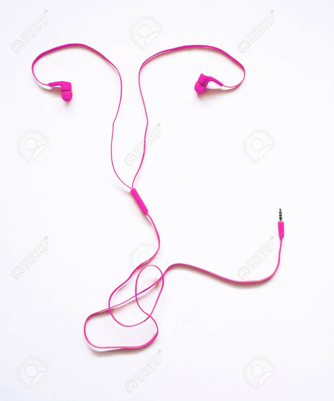 1085x1300 Headphones Earphones Pink Uterus Shape On White Background. Listen