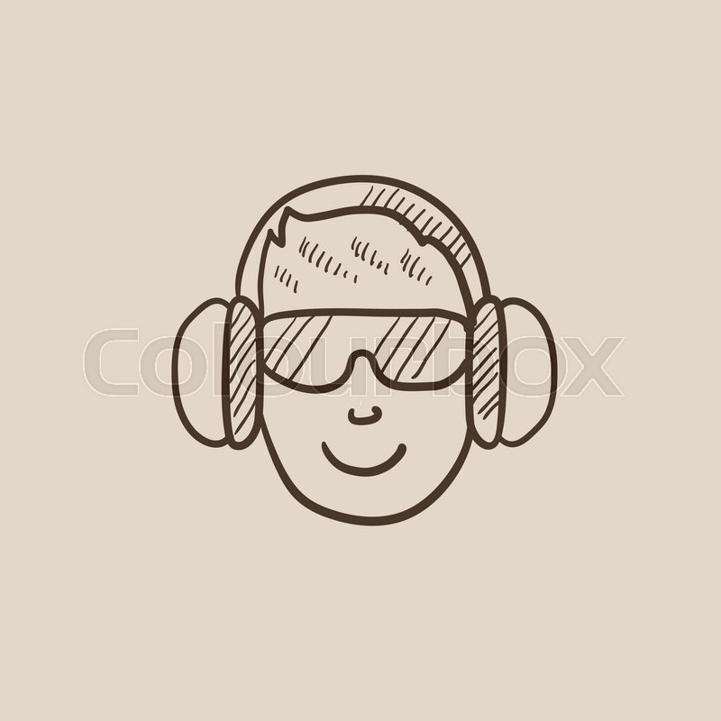 800x800 Man In Headphones Sketch Icon For Web, Mobile And Infographics