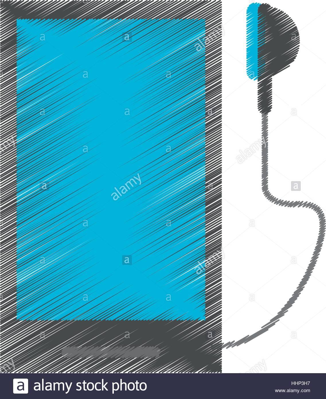 1137x1390 Drawing Smartphone Mobile Music Earphones Audio Stock Vector Art
