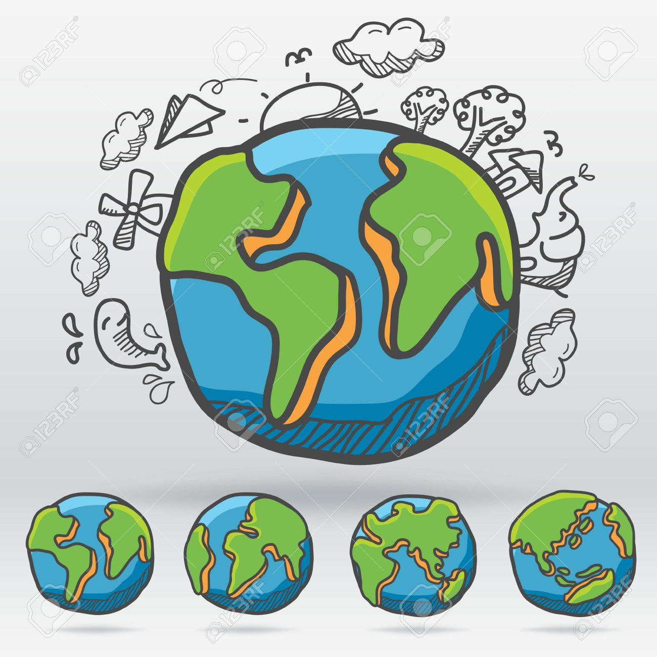 1300x1300 Vector Earth Drawing Cartoon Style Suitable Change Side
