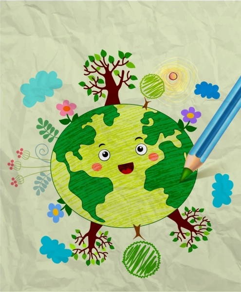 495x600 Earth Day Drawing Colorful Handdrawn Sketch Stylized Earth Free