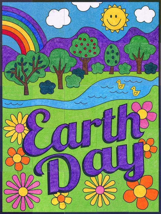 525x700 New! Earth Day Countryside Mural Earth, Pdf And Group Projects
