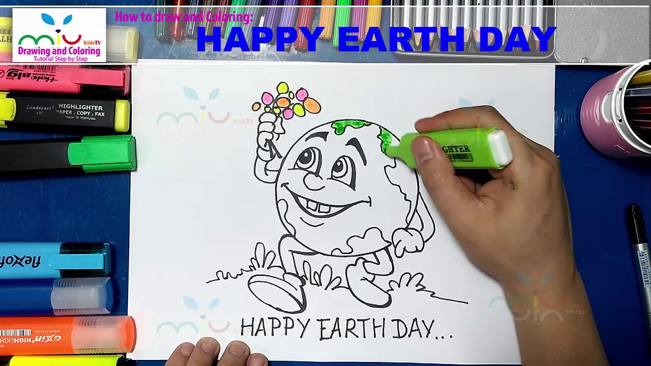 1280x720 How To Draw Happy Earth Day Step By Step Easy