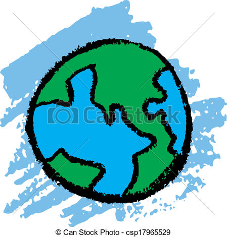 449x470 Earth sketch. Crayon kids drawing of earth vector illustration