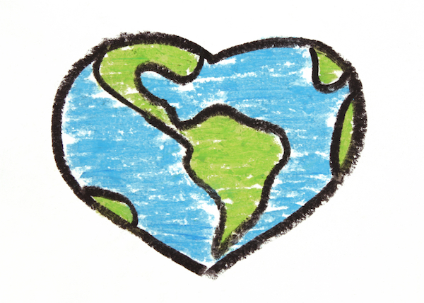 600x428 Heart Shaped Earth Drawing Happy Earth Day