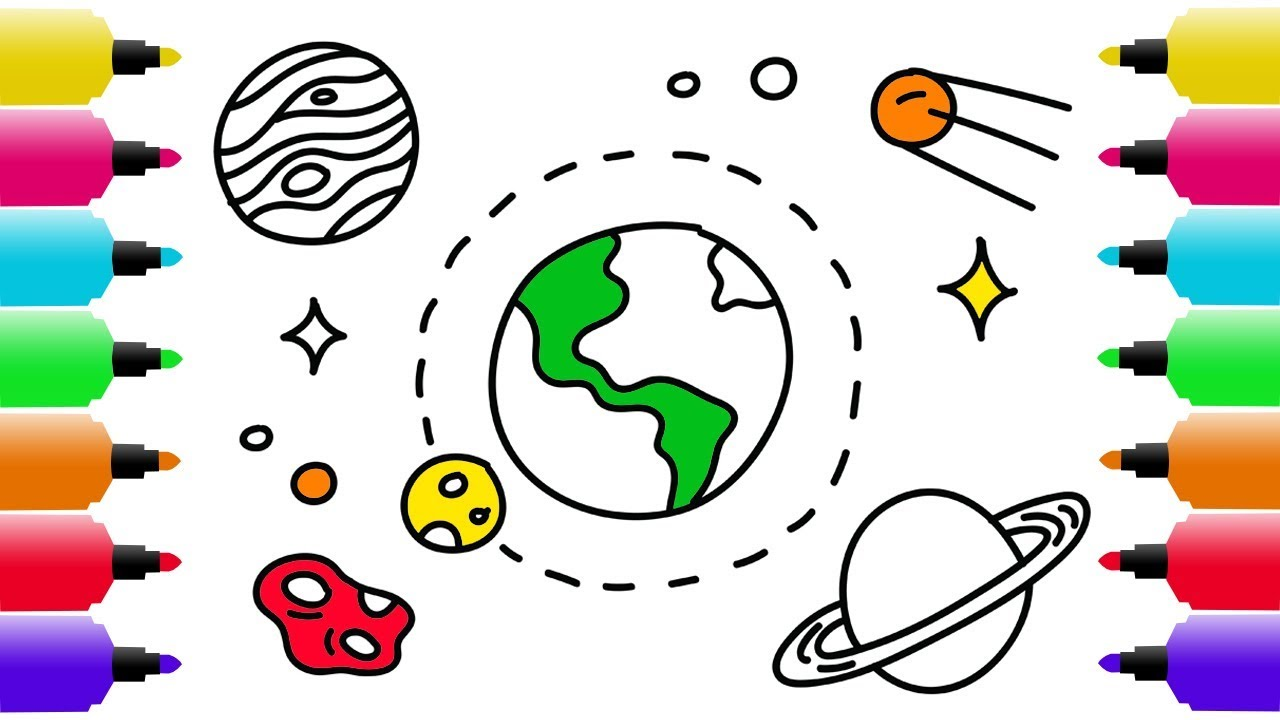 1280x720 How To Draw Earth And Stars Coloring Pages For Baby Art Colors