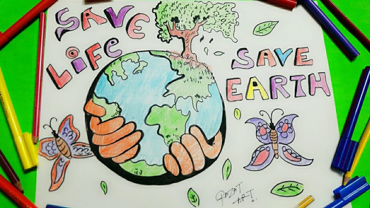 1280x720 How To Draw Easy Save Earth Save Life Drawing For Kids