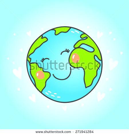 450x470 Cute Globe Postcard With Cute Cartoon Earth Globe Vector