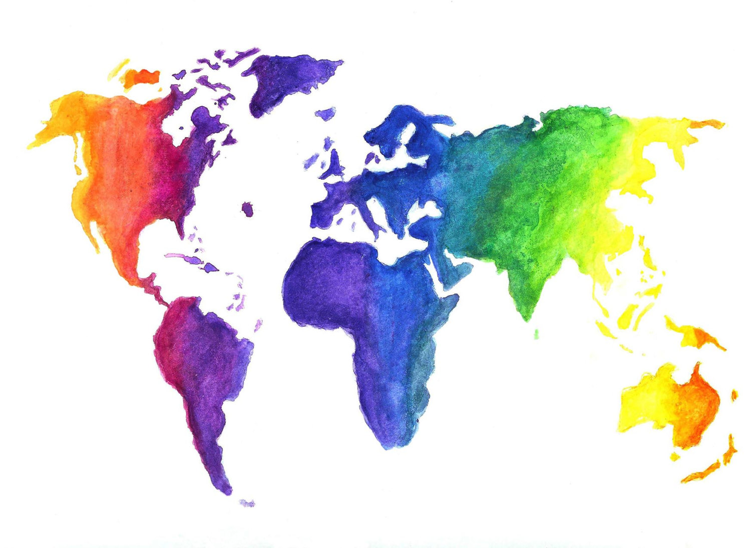 Earth map drawing at getdrawings free for personal use earth 1500x1095 watercolor world map print earth in rainbow colors hand gumiabroncs Choice Image